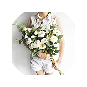 Artificial Flowers 6 Heads Artificial Roses Silk Flowers Artificial Flowers for Wedding Home Party Decorations Table Centerpiece 7 Colors 85