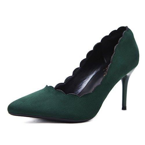 ZHZNVX Mujer zapatos de tacón clásico en la primavera. green