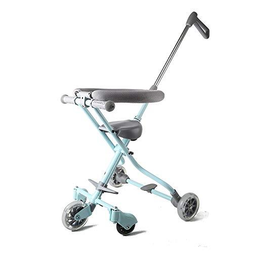 Carro de cinco ruedas, plegable bicicleta bebé de tres ruedas niños de juguete de coches con sistema de seguridad y...
