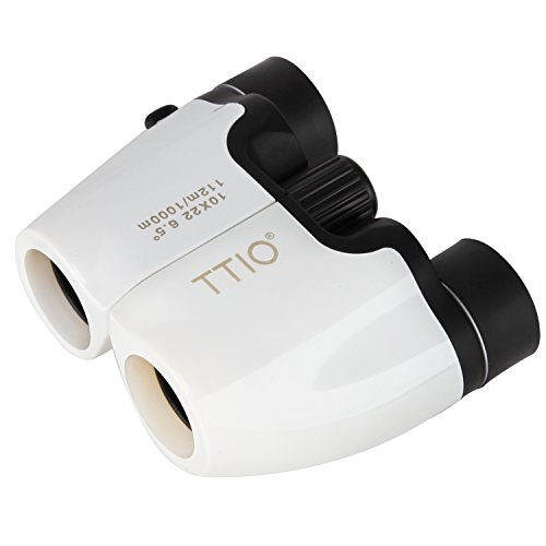 TTIO Binoculars Folding White Portable High Definition and Blue Film Coated 10X22mm Zoom Porro Prism Optics Binocular Telescope with Hand Strap for Travel and Sports Bird Watching