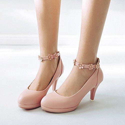 Carolbar Mujer Applique Tobillo Correa Boda Bombas De Tacón Alto Zapatos De Novia Rosa