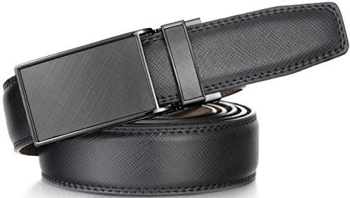 Marino Avenue Men's Genuine Leather Ratchet Dress Belt with Linxx Buckle - Gift Box (Charcoal Depiction - Black, Adjustable from 28 to 44 Waist)