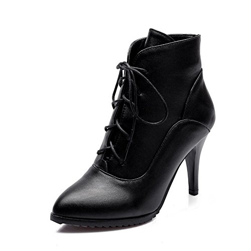 AmoonyFashion Womens Solid PU High-Heels Lace-up Pointed Closed Toe Boots Black