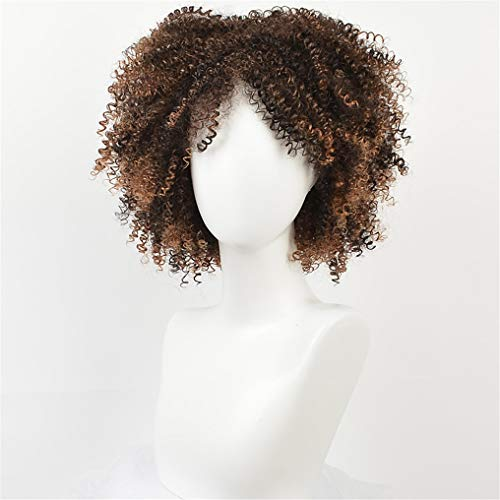 Peony red Brown Synthetic Curly Wigs For Women 9 Colors Ombre Short Afro Wig as picture 14inches -