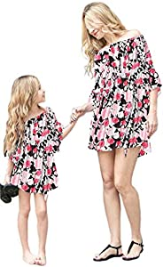 Family Matching Outfits Mommy and Me Flower Print Off Shoulder Long Sleeve Short Jumpsuit Romper Dress