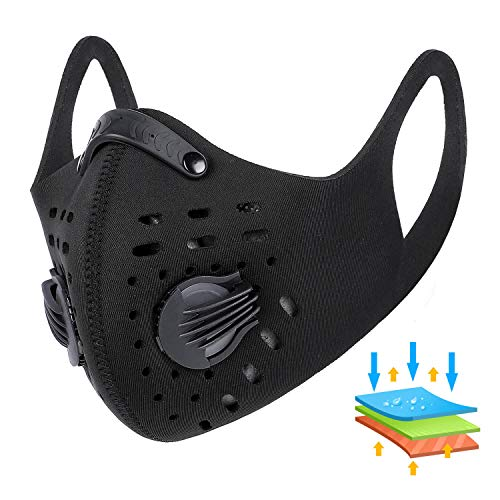 Anti Dust Mask - Bicycle Dustproof Mask with Filter, Activated Carbon Breathable Windbreak Respirator   Foggy Haze Barrier Mask for Pollen Allergy/PM2.5/Running/Cycling/Outdoor Activities