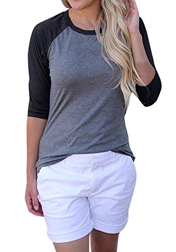 - Blanycool Womens Baseball T-Shirt 3/4 Sleeve Raglan Shirts Casual Color Block Tops Blouse