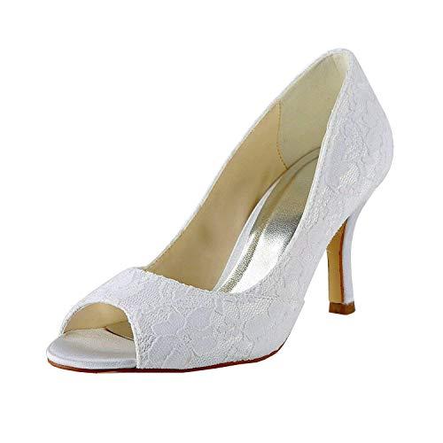 Ivory Heel color 7cm Hhgold Toe Mujer White Baile Peep Tamaño Sandalias Heel 7cm Uk Noche Para Mz553 Boda 9 Encaje De fHqURfPwg