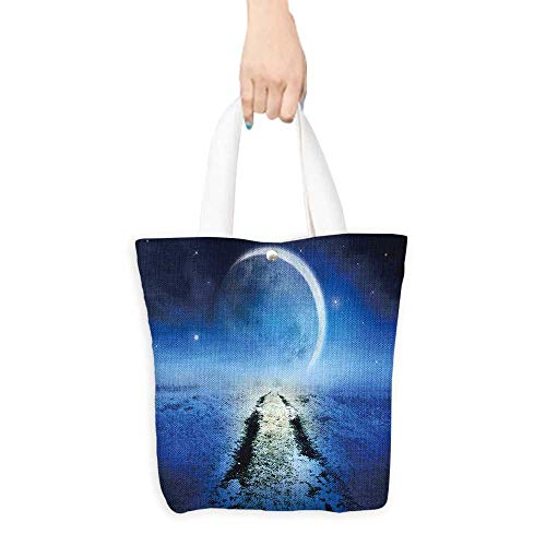 Folding Shopping Bag Night landscape with road leading to horizon and magic huge moon and starry sky Halloween card poster (W15.75 x L17.71 Inch)]()