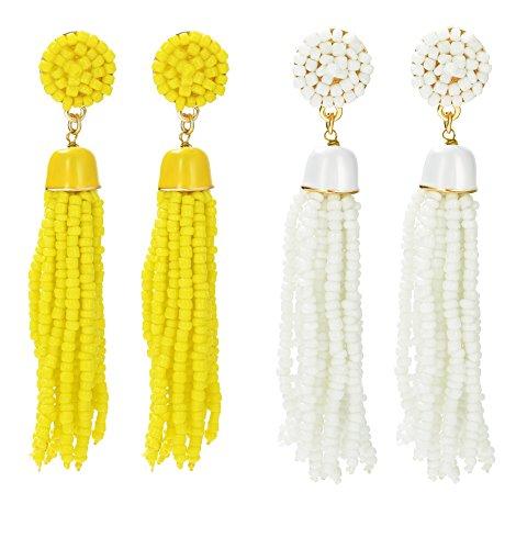 (ORAZIO 1-2 Pairs Long Tassel Earrings For Women Girl Beaded Fringe Dangle Ear Drops)