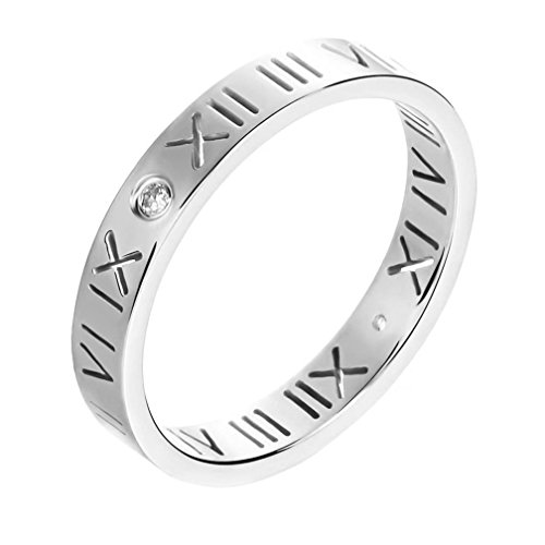 IFUAQZ Stainless Steel CZ Roman Numeral Stackable Midi Eternity Rings for Women Girls Hollow Out Silver Size ()
