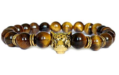 Blacksmith Gold Lion Bracelet for Women & Men - Brown Tiger Eye -