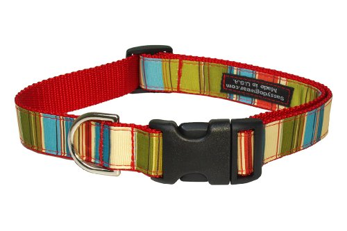 Sassy Dog Wear 13-20-Inch Red/Multi Stripe Dog Collar, Medium from Sassy Dog Wear