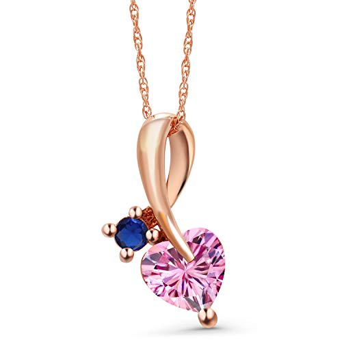 Gem Stone King 10K Rose Gold Pendant Heart Shape Pink Created Moissanite and Simulated Sapphire Blue 0.80ct (DEW)