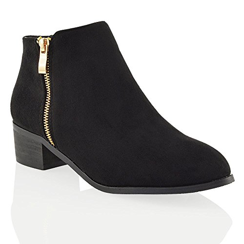 Ladies ESSEX Western Low Zip Suede Block Ankle Ladies GLAM Womens Boots Black Heel Style Cowboy Faux Gold rCTqr8w