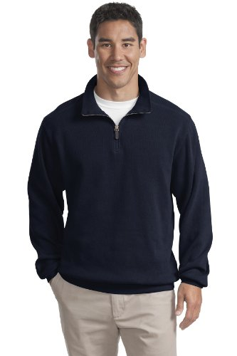 Port Authority Mens Flatback Rib 1 4 Zip Pullover Xxl Navy