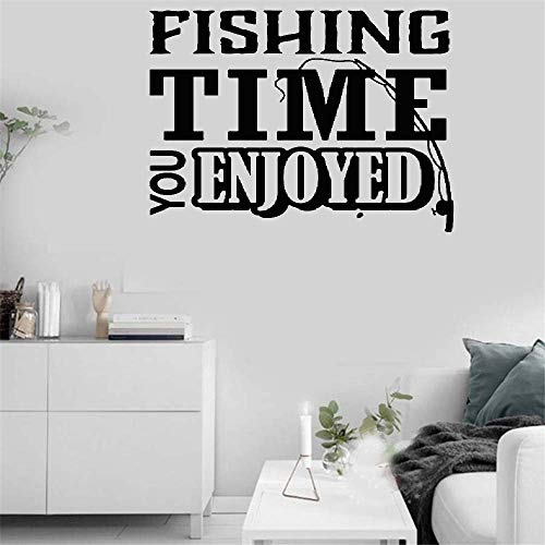 Qoers Wall Stickers Decor Motivational Saying Lettering Art Wall Decal Fishing Time You Enjoyed for Fisherman Room ()
