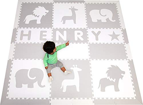 (Personalized Foam Play Mat- Names up to 6 Letters- SoftTiles Safari Animals Kids Playmat- Nontoxic Interlocking Foam Floor Tiles for Children's Playrooms and Baby Nursery 6.5 x 6.5 ft.)