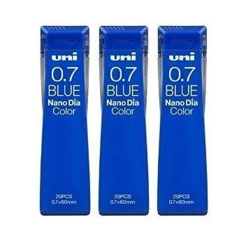 Uni Mechanical Pencil Lead Nano Dia Color 0.7mm, Blue (U07202NDC.33), 20 Leads ×3 Pack/total 60 Leads (Japan Import) [Komainu-Dou Original (Pencils Lead Color)