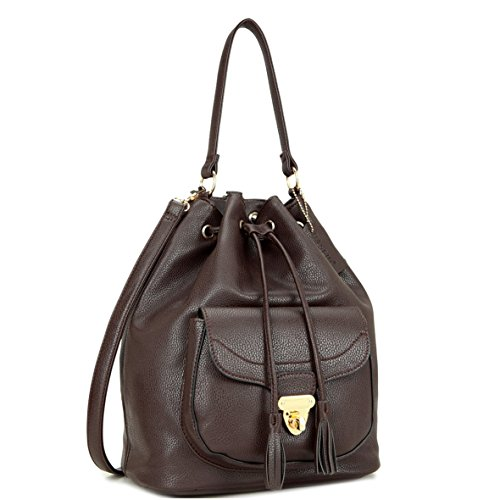 Dasein Fashion Leather Convertible Drawstring Bucket Bag and Backpack (Coffee - 7207)