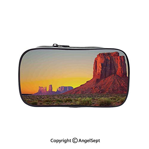 (Bag Pen Case Felt Students Stationery Pouch Zipper Bag,Sunset in Famous Grand Canyon Archaic Natural Wonders of World Heritage Photo Red Yellow 5.1inches,for Pens,Pencils,and Other School Supplies)
