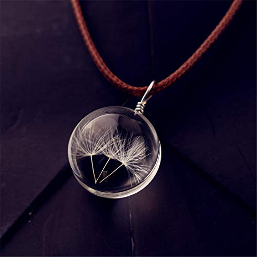 Heyuni.Dandelion Necklace Real Dandelion Seed, Wish Necklace Nature Jewelery Good Luck Charm,Dandelion