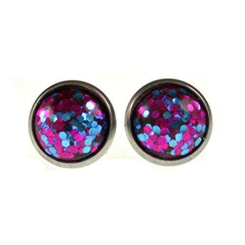 Glittered Epoxy - Stainless Steel Women's Stud Earrings Round Glittered Epoxy Stone 10mm (Purple)