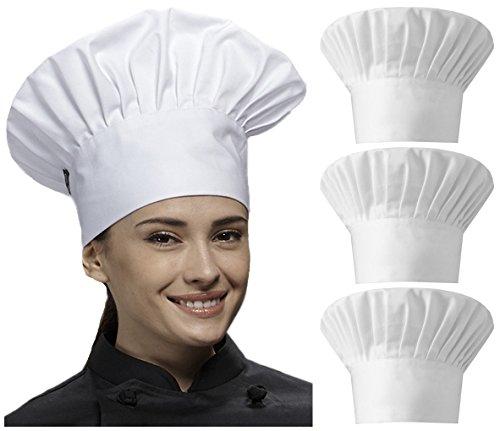 Qandsweet Chef Hat Kitchen Cap Adjustable for Men, Women Cooking, Baking, BBQ, Outdoor 3-Pack (White) (Womens Cap Cook)