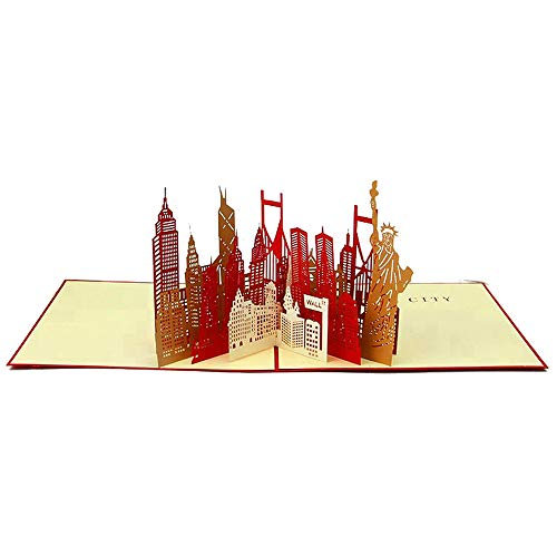 PopUpCard-72 New York 3D Pop Up Card and Envelope - Unique Pop Up Greeting Card for Birthday, Mother's Day, New Year, Anniversary, Valentine, Wedding, Graduation, Thank You. New York
