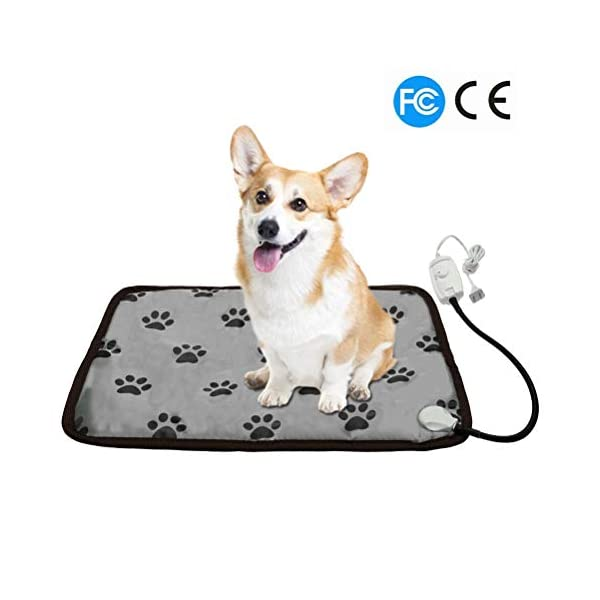 PUPTECK Pet Heating Pad - Dog Cat Electric Heated Pads - Waterproof & Chew Resistant Mat for Indoor Grey 1