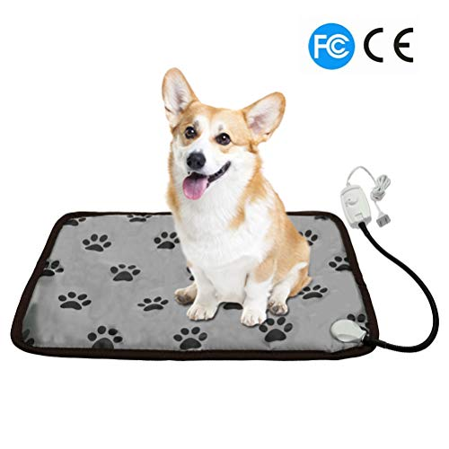 PUPTECK Pet Heating Pad for Dog Cat Electric Heated Pads - Waterproof & Chew Resistant Mat for Indoor Grey Medium (Bed Microwavable Pet Warmer)