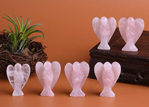 (AMOYSTONE Rose Quartz Guardian Angel Hand Carved Pocket Crystal Gemstone Figurines 6PCS)