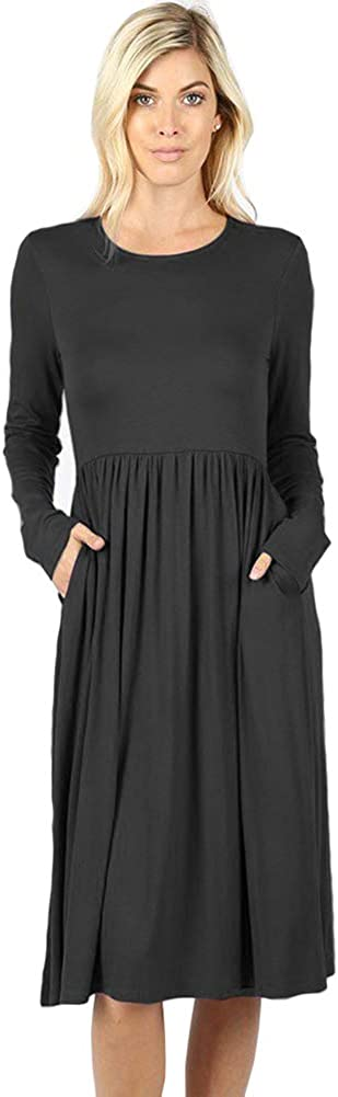 12 Ami Flowy Basic Long Sleeve Pocket Swing Midi Dress