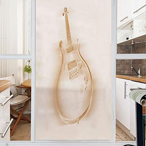Decorative Window Film,No Glue Frosted Privacy Film,Stained Glass Door Film,Graphic of Electric Guitar on Plain Background Modern Hobbies Rock Pop Jazz Decor,for Home & Office,23.6In. by 47.2In Cream