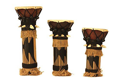 Set Of 3 Bamboo Decoration Drum Home Decor