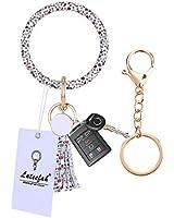 Wristlet Keychain Keyring Bracelet Bangle - Round Circle Key Ring Bracelet Leather Tassel Bracelet Holder For Women Girls