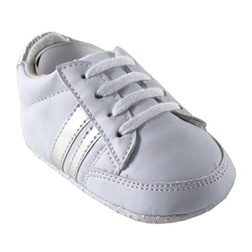 Casual Stripe Sneakers (Luvable Friends Basic Stripe Casual Sneaker (Infant), Silver, 0-6 Months M US Infant)