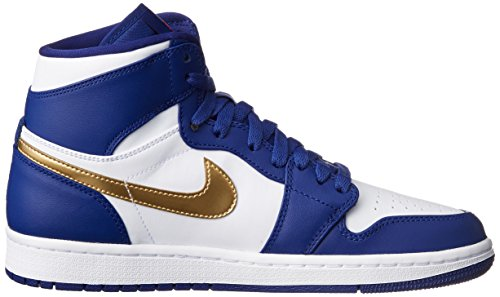 Jordan Nike Heren Air 1 Retro High Basketbalschoen Deep Royal Blue / Mtlc Gold Coin-white