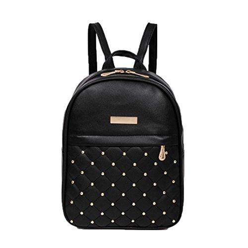 (Clearance Shoulder Bag Backpacks,Rakkiss Women Rivet Backpack Fashion Causal Bags Bead Female Travel Bucket Bag)