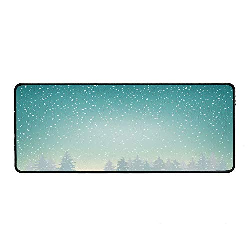 (Winter Wristband Mouse Pad,Snow Falls on The Spruce Forest Fir Trees Seasonal Nature Woods ICY Cold Xmas Time Decorative for Home Desk Computer Desk,15.75''Wx35.43''Lx0.12''H)