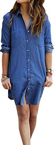 LunaJany Women's Loose Long Sleeve Front Pocket Button Down T Shirt Dress