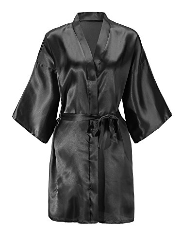 EPLAZA Women Solid Color Satin Bridesmaids Wedding Kimono Robes Short Bridal Dressing Gown Sleepwear (Black, 1) - Black Dressing Gown