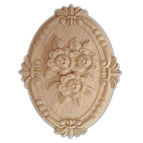 Beoot Hand Carved Wooden Carved Onlay Applique Oval Carving Decal Unpainted Furniture -