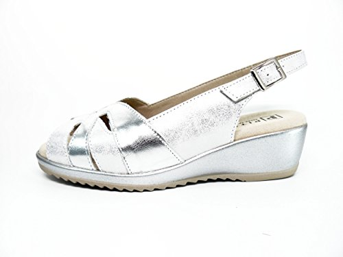 marca color 1013 Sandalias grabada mujer plata piel PITILLOS plata 565 qrqX5w0