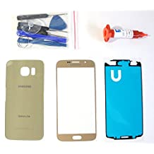 (md0410) Gold Front Outer Lens Glass Screen Back Battery Door Housing Cover Replacement For Samsung Galaxy S6 G920 Adhesive Tools 5ml UV LOCA Liquid Glue (LCD and Digitizer not included)