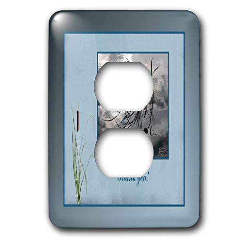 3dRose Beverly Turner Thank you Design - Thank you, Frog in a Pond Photo, Cattails Accent, Blue Frame - Light Switch Covers - 2 plug outlet cover (lsp_286999_6)