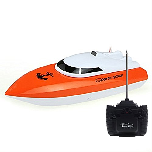 SZJJX RC Boat Remote Control Racing Boat High Speed Electric 4 Channels for Pools, Lakes and Outdoor Adventure for Kids JX802 Orange ()