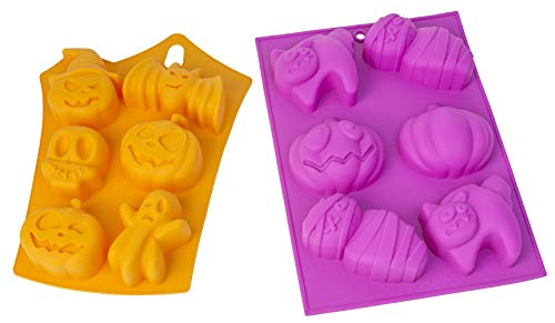 HapWay 2 Pack Halloween Witch Ghost Small Pumpkin Face Shape Candy Mold, Skulls Ghosts Bats Cats Mummies Style Silicone Soap Molds Chocolate Cake Baking Moulds Pull-Apart Dessert Cake Pan Mold