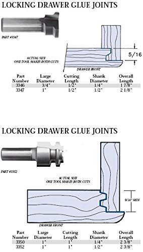 Whiteside Router Bits 3346 Locking Drawer Glue Joint Bit with 3/4-Inch Large Diameter and 1/2-Inch Cutting Length