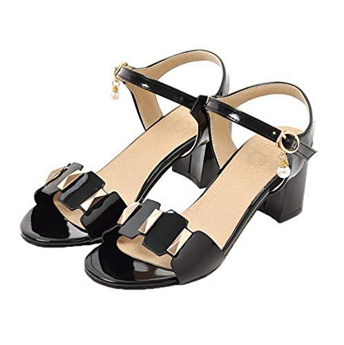 Sandales Couleur d'orteil Correct Ouverture Noir à Femme TSFLH007320 AalarDom Talon Unie 5qZwF8